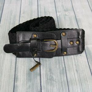 IZOD Black Woven Belt w Large Black Buckle